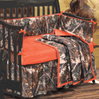 Camo Bedding: 4-Piece Orange and Camo Crib Set|Camo Trading