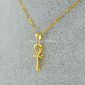 Egyptian Ankh Cross Pendant Necklace Chain Woman Gold Plated Filled Jewelry Women Girls Egypt Hieroglyphs Crux Ansata