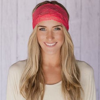 Coral Sheer Lace Headband