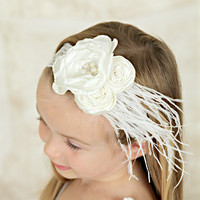 White Layered Flower & Rosettes with White Feather on White Vintage Lace Headband