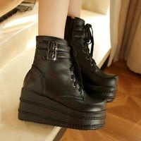 High Plat form Women's Boots Goth Punk Shoes Buckle Lace Up Ankle