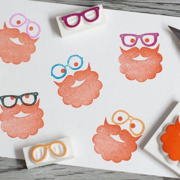 diy face rubber stamp, beard stamp, fathers day stamp, eye glasses stamp, rubber stamp set, daddy rubber stamp, draw your own face, kids diy