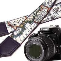 DSLR Camera Strap. World Map Camera Strap. Camera accessories. Photographer gift. Map. Violet. Purple.