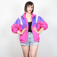 Vintage 80s Bomber Jacket Color Block Windbreaker Jacket Pink Purple Track Jacket Mod 1980s Wind Breaker Jacket Sporty Athletic S M Medium