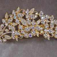 Rhinestone Bridal Gold Hair Comb / Wedding Hair Comb / Special Occasion /Vintage Inspired