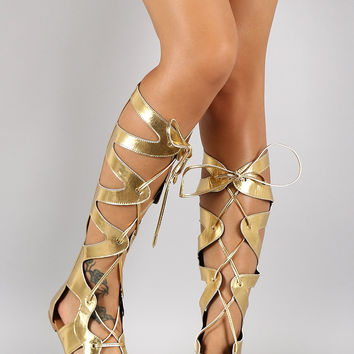 Shoe Republic Metallic Gladiator Knee High Flat Sandal