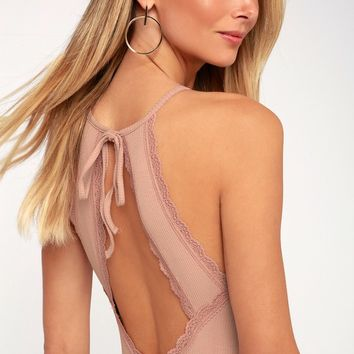 Britton Blush Pink Ribbed Lace Halter Bodysuit