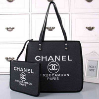 CHANEL Women Shopping Bag Beach Tote Handbag Shoulder Bag Set Two Piece