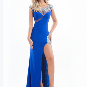Open Back With High Slit Prom Dress By Rachel Allan 6891