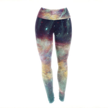 Painted Rainbow Galaxy Unique Custom Yoga Exercise Leggings