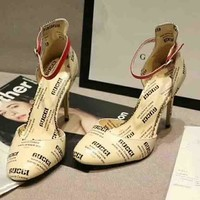 GUCCI New style more letter high heels sandals shoes Apricot