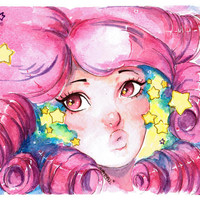 Steven Universe Rose Quartz Watercolor Art Print