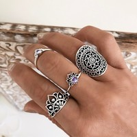 Gift Shiny Jewelry Stylish New Arrival Accessory Vintage Gemstone Hollow Out Totem Ring [10802572291]