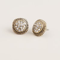 Gold and Clear Pave Stud Earrings - World Market