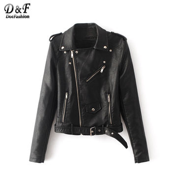Dotfashion BLack Faux Leather Belted With Zipper Coat Women Fashion Top 2016 Plain Lapel Long Sleeve Moto Jacket