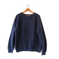 vintage navy blue sweater. oversized slouchy pullover sweater. boyfriend loose knit sweater. size XL