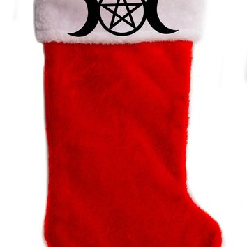 "Triple Moon Goddess Pentacle Christmas Holiday Stocking 17"" Red/White Plush Hanging Sock Santa Stuffer Merry Gothmas"