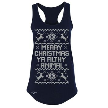 Zexpa Apparel™ Merry Christmas Ya Filthy Animal Women's Racerback Ugly Sweater Sleeveless