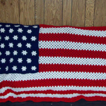 READY TO SHIP American Flag Afghan Stars And Stripes Afghan Crochet Afghan  Cherry Red Soft Navy White