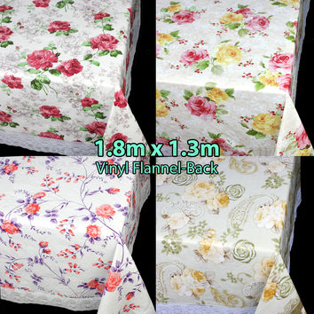 Vinyl Tablecloth PVC Table Cloth Linen Floral Plastic Cloths Rectangle Lace Edge Cover Protector