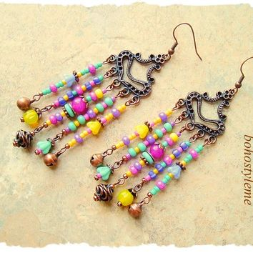 Boho Colorful Chandelier Earrings, bohostyleme, Bohemian Jewelry, Fun Playful, Hippie Gypsy Jewelry, Kaye Kraus