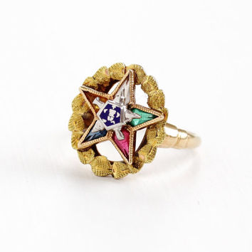 Vintage 10K Yellow Gold Order of the Eastern Star Ring - Size 6 1/4 Masonic Multi-Color Simulated Gem PSCO Jewelry