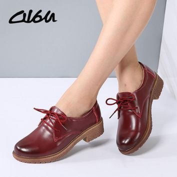O16U Women Lace up Oxfords Shoes Real Leather Rubber sole Ladies Moaccasins Flats Fema