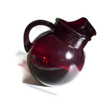 Anchor Hocking Vintage Pitcher,Red Glass,  Royal Ruby, Roly Poly, Discontinued, 1950's, 42 Oz., Retro Kitchen, Mid Century Kitchen