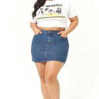 Plus Size Rainbow Striped Denim Mini Skirt