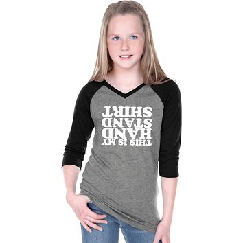 Girls Gymnastics T-shirt Handstand V-Neck Raglan