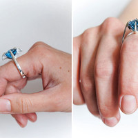 Blue topaz ring, gothic ring, sterling silver ring, modern ring, contemporary jewelry, blue gemstone ring, solitaire ring, ring size 8
