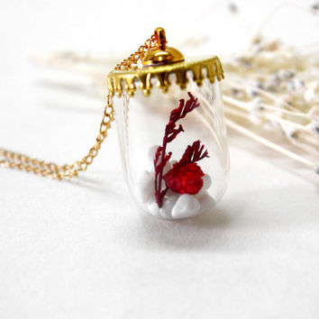 Glass Orb Necklace, Natural Dried Flower Necklace, Red Flower with White Stone