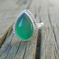 Green Onyx Ring - Gemstone Ring - Christmas Gift for Her- Green Stone Ring -Onyx Jewelry - Sterling Silver Ring