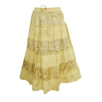 Mogul Women's Peasant Skirt Velvet Patch Yellow Bohemian Fashion A-Line Gypsy Hippie Chic Skirts S/M - Walmart.com