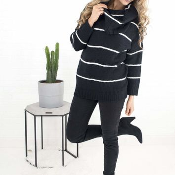 Women's Striped Cowl Neck Pullover Sweater