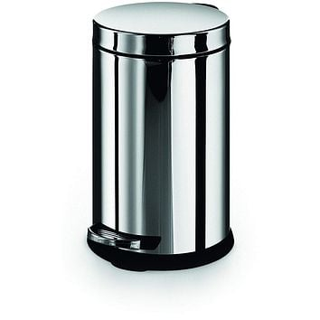 LB Round Step Trash Can Stainless Steel Wastebasket W/ Lid Polished Chrome 6L