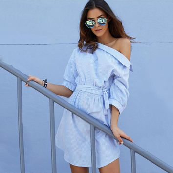 Inclined shoulder stripes shirt dress the waist belt