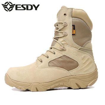 Esdy Real Rushed 2017 Summer Men's Desert Camouflage Military Tactical Boots Men Comba