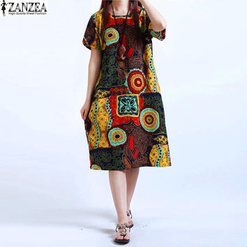 M-5XL ZANZEA NEW Womens O Neck Floral Print Short Sleeve Casual Cotton Linen Knee Length Dress Baggy Boho Tunic Kaftan Plus Size