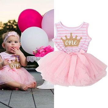 Princess Girl Dress 2018 Girls Stripe Bow Cute Dress Baby Infant Party Dresses Tutu Kids Clothes For Newborn Baby First Birthday