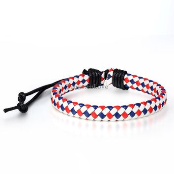 2015 New Colours Rope Surfer Leather Braided Bracelets Men Women Bohemia Leather Bracelets adjustable
