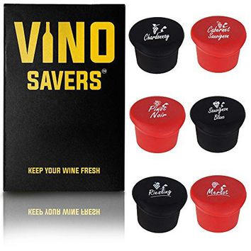 Wine Stoppers Set of 6 corks  Perfect Gift Box for Real Wine Lovers Keep Leftover Wine Fresh with Reusable Silicone Bottle Caps Accessory Named for your Favorite Wines