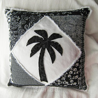 Quilted patchwork palm tree boho pillow cover, in black and white batiks and wovens on white distressed denim 18""