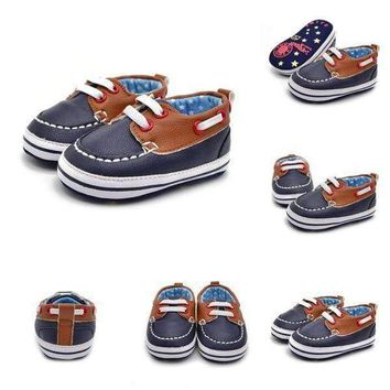 Infant Baby Boys Soft Sole PU Leather Crib Shoes Toddler Shoes Newborn to18month
