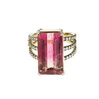 Emerald Cut Pink Tourmaline and Diamond Ring  by Jemma Wynne