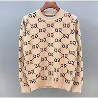 GUCCI New fashion more letter print long sleeve top Apricot