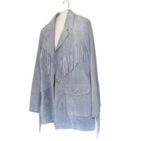 Leather Fringe Blazer Jacket Fringe Jacket Plus Size Blazer Plus Size Clothing Leather Blazer Western Fringe Plus Size Clothes Blue Blazer