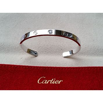Genuine CARTIER OPEN LOVE Bangle Diamond Bracelet Real Solid 18kt white gold 17