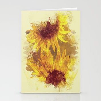 Peeping Sunflowers Stationery Cards by Theresa Campbell D'August Art