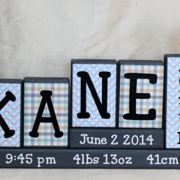 Personalized Baby Blocks (4 Letters First Name) & Middle Name Birth Stats/Announcement